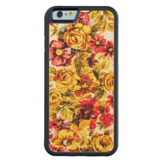 Retro yellow and red flowers carved maple iPhone 6 bumper case