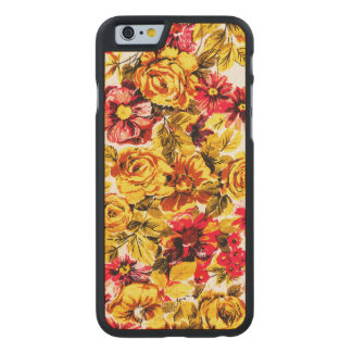 Retro yellow and red flowers carved maple iPhone 6 case