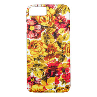 Retro yellow and red flowers iPhone 7 case