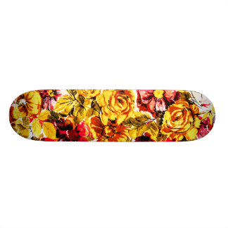 Retro yellow and red flowers skate board decks