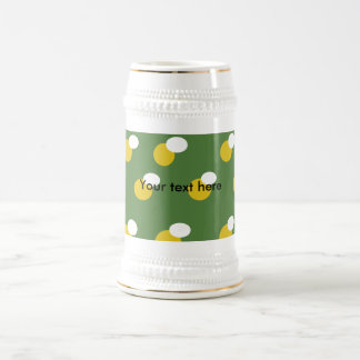 Retro yellow and white polka dots on green 18 oz beer stein