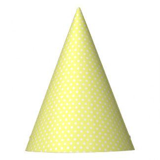 Retro yellow and white polka dots party hat