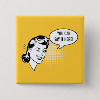 Retro Yellow and White Winking Woman Fun Button