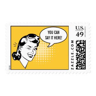 Retro Yellow and White Winking Woman Fun Postage