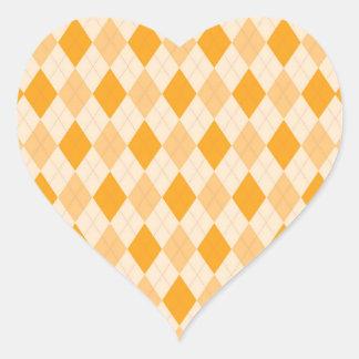 Retro yellow argyle rockabilly heart sticker