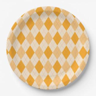 Retro yellow argyle rockabilly Paper plate
