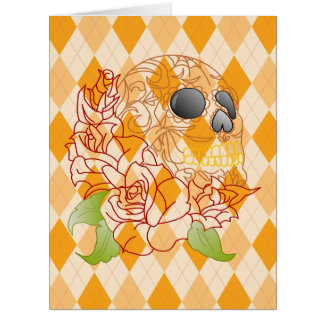 Retro yellow argyle rose sugar skull greeting card