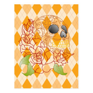 Retro yellow argyle roses sugar skull postcard