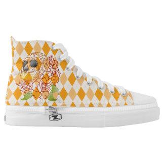 Retro yellow argyle skull rockabilly hightop shoes