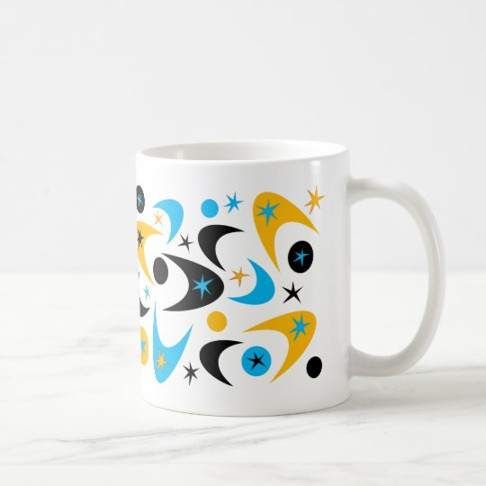 Retro Yellow Black & Aqua Starburst Boomerang Coffee Mug