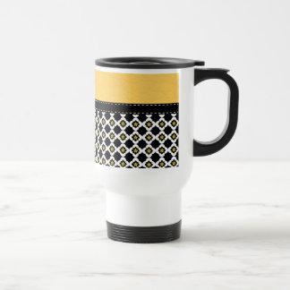 Retro Yellow & Black Modern Leather Pattern Mugs