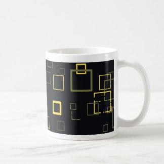 Retro Yellow, Black Pop Squares Art Pattern Mug
