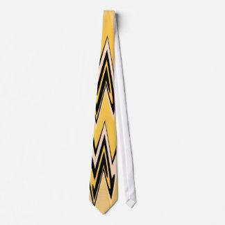 Retro Yellow, Black Zigzap Abstract Art Deco 2 Tie