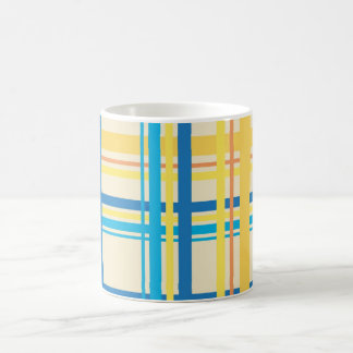 Retro Yellow, Blue, Brown Stripes Pattern Classic White Coffee Mug