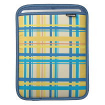 Retro Yellow, Blue, Brown Stripes Pattern Sleeve For iPads