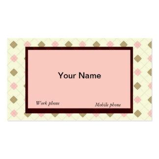 RETRO YELLOW-BROWN-PEACH ARGYLE BUSINESS CARDS
