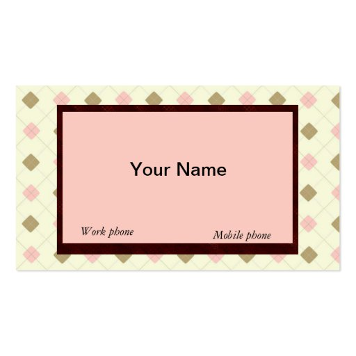 RETRO YELLOW-BROWN-PEACH ARGYLE BUSINESS CARDS