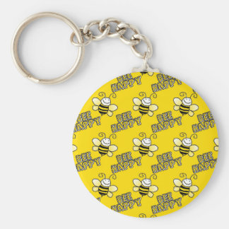 Retro Yellow Bumble Bee Pattern Basic Round Button Keychain