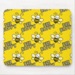 Retro Yellow Bumble Bee Pattern Mouse Pad