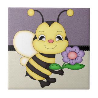 Retro Yellow Bumble Bee Ceramic Tile