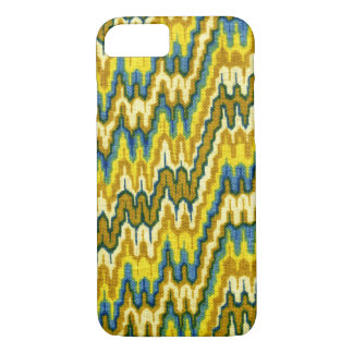 Retro Yellow Chevron Abstract Wavy Lines iPhone 7 Case