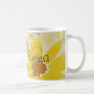 Retro Yellow Daisy Monogrammed Coffee Mug