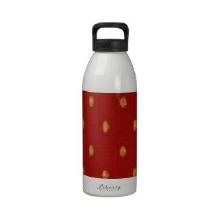 Retro Yellow Gold Polka Dot Red Reusable Water Bottle