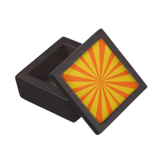Retro Yellow & Orange Background Premium Trinket Boxes