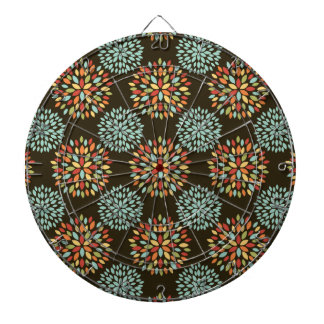 Retro Yellow, Orange, Brown, Teal, Red Flowers Dartboards