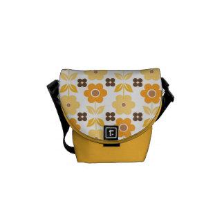 Retro Yellow/Orange Flowers Courier Bag