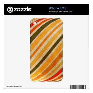 RETRO YELLOW ORANGE RED DIRT GREEN STRIPES PATTERN DECALS FOR THE iPhone 4S