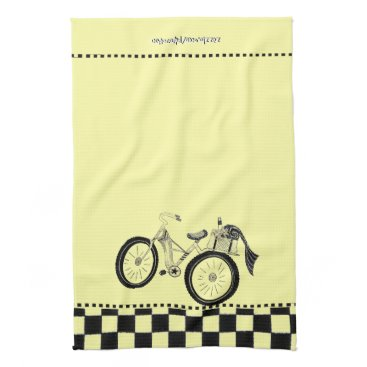 Beach Themed Retro Yellow Picnic Bicycle Towel