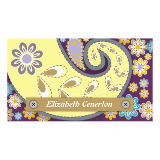 Retro yellow, plum paisley motif floral Double-Sided standard business cards (Pack of 100)