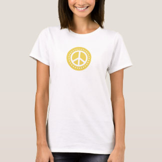 Retro Yellow Polka Dot Peace Sign T-Shirt