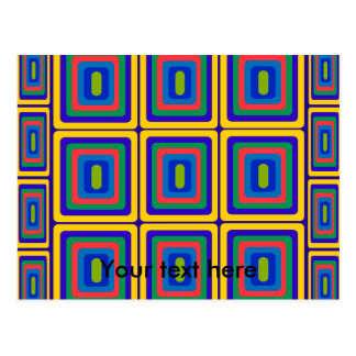 Retro yellow purple and green squares post cards