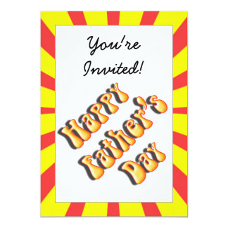 Retro Yellow & Red For Father's Day 5x7 Paper Invitation Card