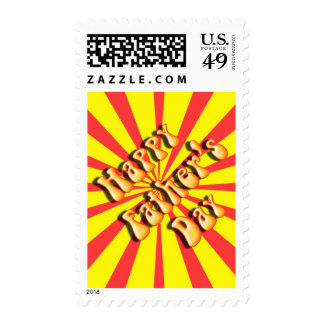 Retro Yellow & Red For Father's Day Stamps