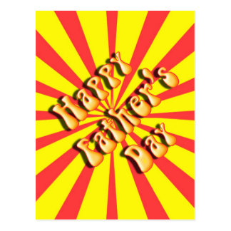 Retro Yellow & Red For Father's Day Postcard
