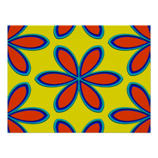 Retro Yellow Red Psychedelic Flowers Poster