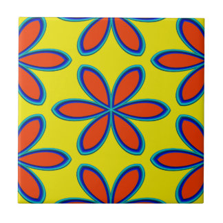 Retro Yellow Red Psychedelic Flowers Small Square Tile