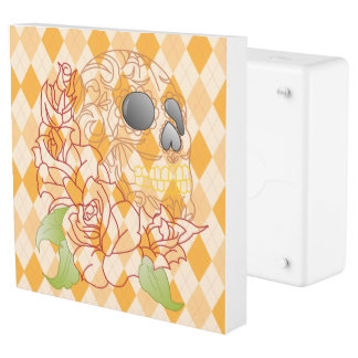 Retro yellow  skull argyle  Plug INLET  Faceplate Outlet Cover