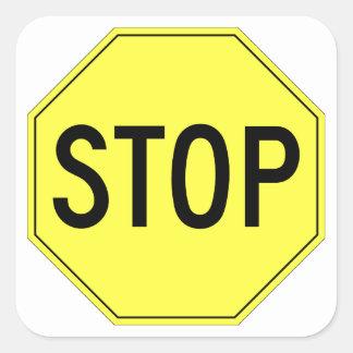 Retro yellow stop sign on white square sticker