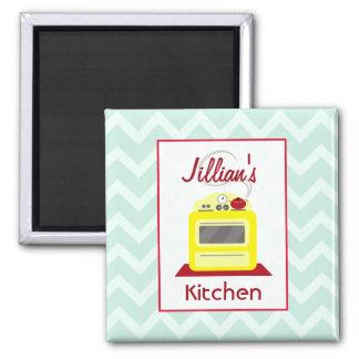 Retro Yellow Stove & Blue Zigzag Kitchen Magnet