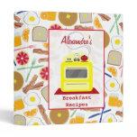 Retro Yellow Stove Breakfast Recipes Binder