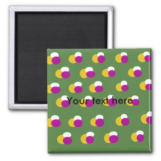 Retro yellow white polka dots on green background refrigerator magnets