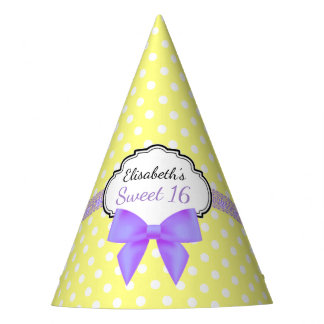 Retro yellow white polkadot sweet 16 girl birthday party hat