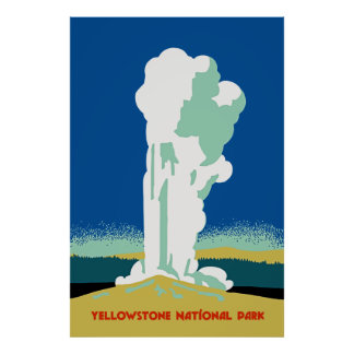 Retro Yellowstone Park Travel ad Poster