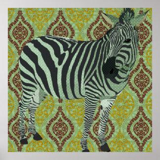 Retro Zebra Art Poster