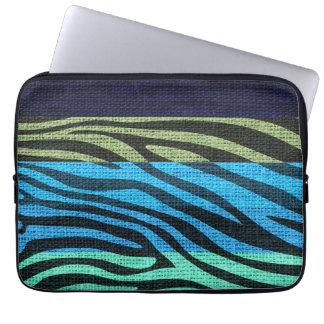 Retro Zebra Skin Print Pattern Burlap Rustic #6 Laptop Sleeve