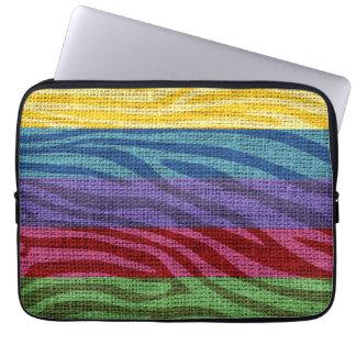 Retro Zebra Skin Print Pattern Burlap Rustic Laptop Sleeve